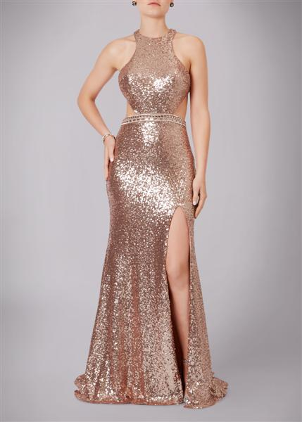 Full Sequin Floor Length Gown With Cut Out Detail Rose