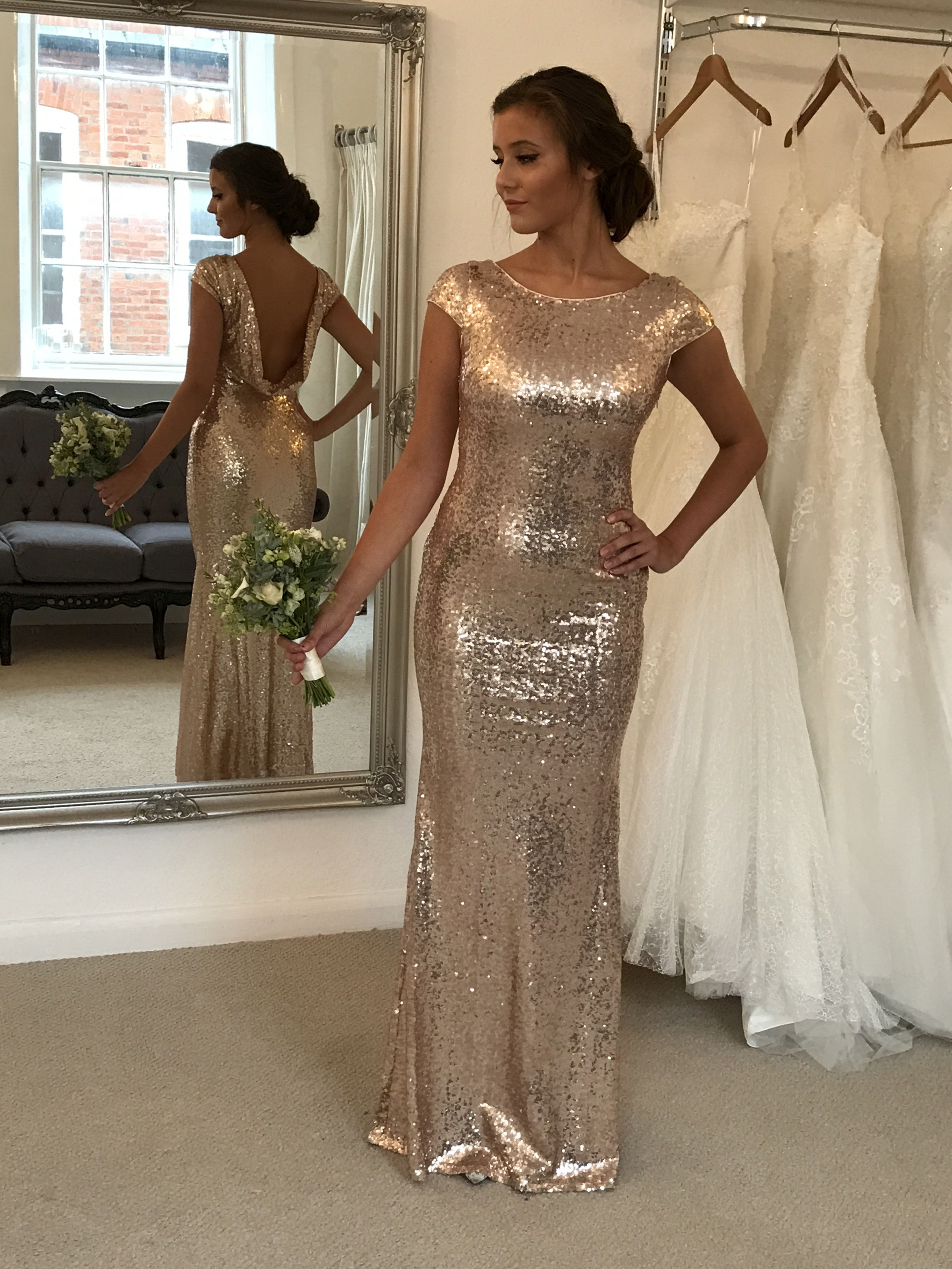 44eed0a7fe Cowl Back champagne sequin gown - Ladida Boutique