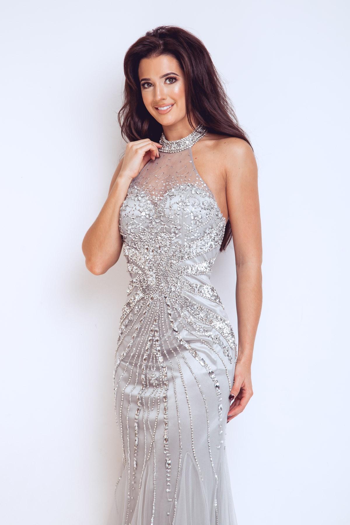 1022911 Frederica Silver Long Dress, Dynasty London ...
