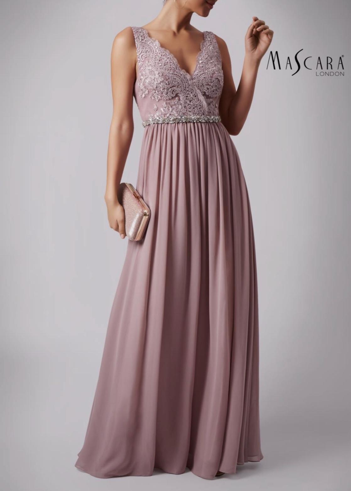Lace Shoulder Gown. Mauve b0238af77